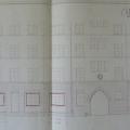 Plan przebudowy sklepu mieszczącego się na parterze, w otwartym podwórzu, przy ul. Strzelców Bytomskich, 1936r. Szczególną uwagę zwraca zegar nad przejściem.